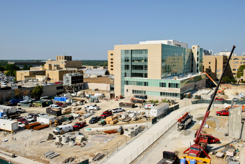 Exterior construction photos of the new patient care tower at University Hospital.